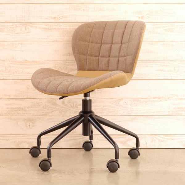 丸くてかわいいオフィスチェア カフェスタイル ベージュ