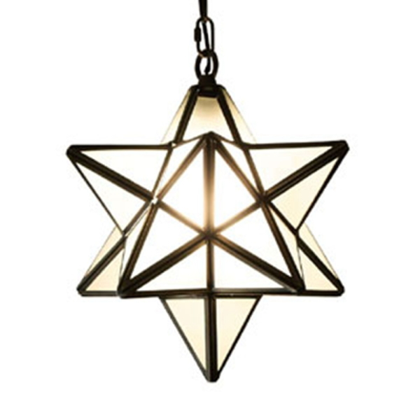 【送料無料】アンティークなデザイン照明 真鍮フレームの星形ペンダントライト