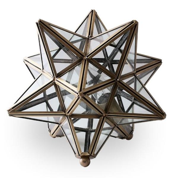 【送料無料】アンティークなデザイン照明 真鍮フレームの星形テーブルライト