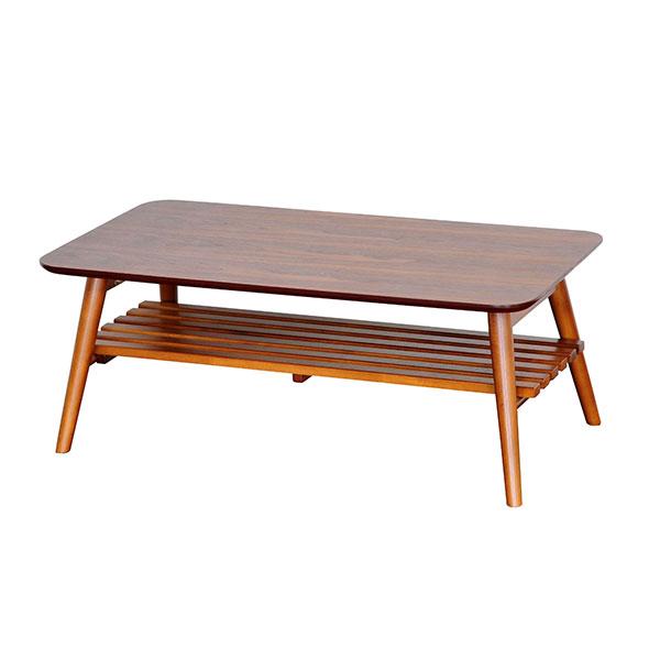 【送料無料】 オシャレなカフェ風デザイン ウォールナットの折り畳みリビングテーブル 棚板付き