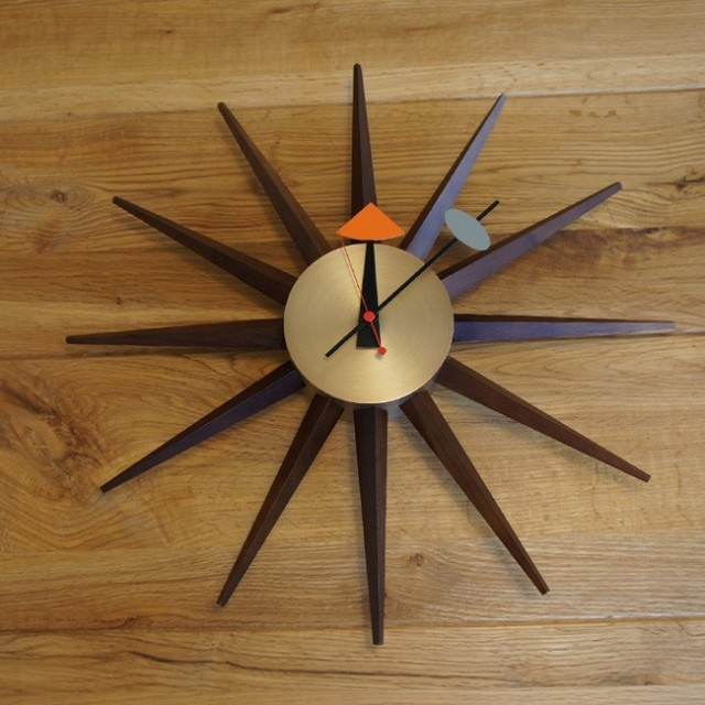 【送料無料】 デザイナーズ 掛け時計 ウォールナット スターバーストクロック51`S /ネルソン/ミッドセンチュリー