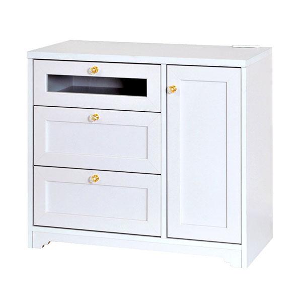 【送料無料】 寝室用テレビ台としても 姫系デザイン ヨーロピアンな雰囲気のチェスト ホワイト 幅80