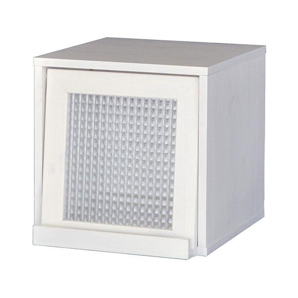 【送料無料】 オシャレなカントリー調デザイン ホワイトウォッシュのボックス収納 フラップ扉タイプ