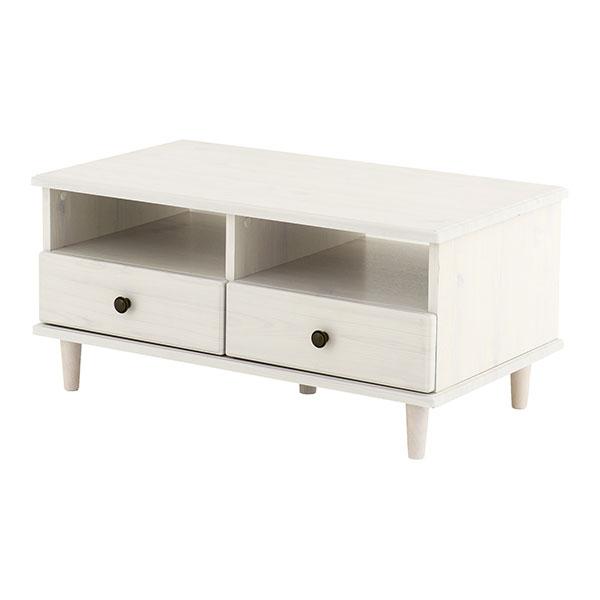 【送料無料】 シャビーシック オシャレなデザインの引き出し付リビングテーブル