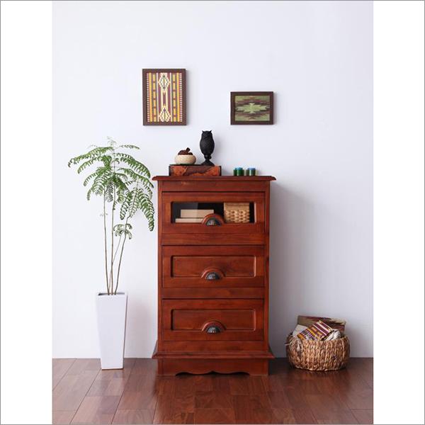 【送料無料】 天然木マボガニー材を使用 アジアンデザインのチェスト W54