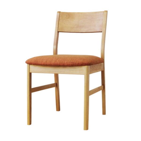 【送料無料】 アルダー材を使用したナチュラルデザイン ダイニングチェア座面オレンジ