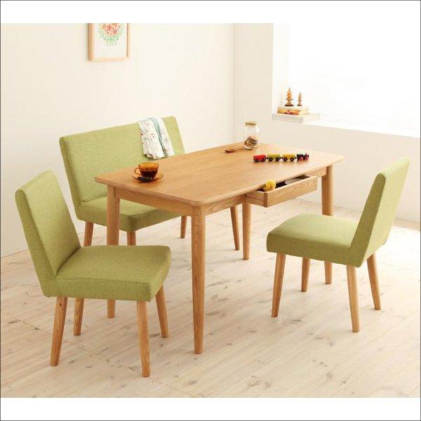 【送料無料】 オシャレなデザインの北欧系 木製ダイニング4点セット(テーブル 幅115cm+チェア2脚+ベンチソファ)
