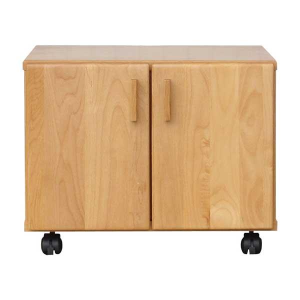 【送料無料】 無垢のオフィス家具 ナチュラルカラーの木製プリンターワゴン 幅50