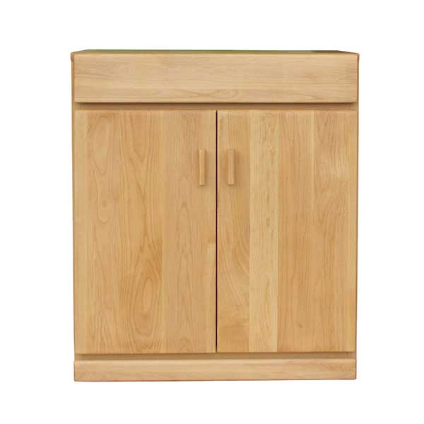 【送料無料】 無垢のオフィス家具 ナチュラルカラーの木製プリンターキャビネット 幅65