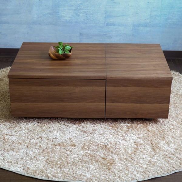 【送料無料】 大容量収納のモダンなデザインのリビングテーブル ウォールナット 幅100