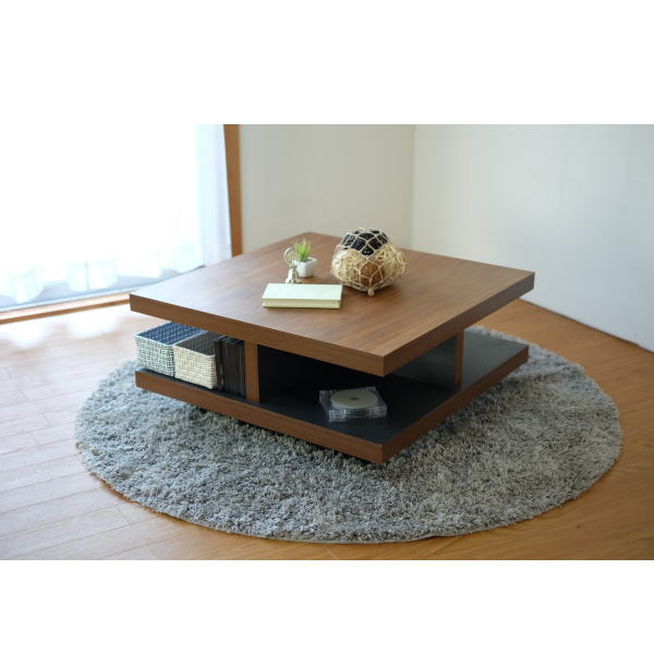 【送料無料】ウォールナット天板のオシャレなデザイン モダンなリビングテーブル 幅80