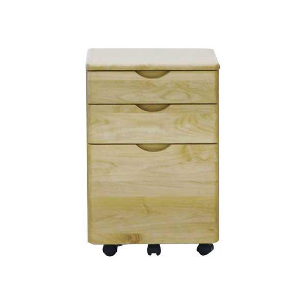 【送料無料】 ナチュラルカラー 無垢のオイル仕上げの木製の学習デスク用ワゴン