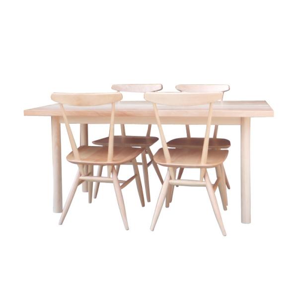 【送料無料】 レストランなどの飲食店に最適 無垢のテーブル幅145とチェア4脚のダイニングセット