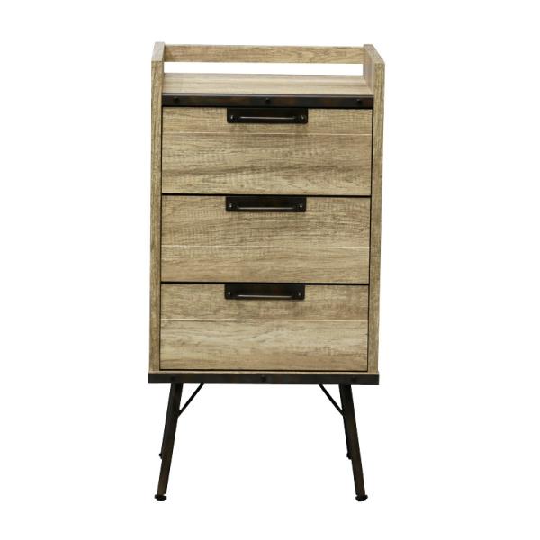 【送料無料】インダストリアルデザイン 古材とスチールの組み合わせがかっこいい収納家具 ミニチェスト 幅46