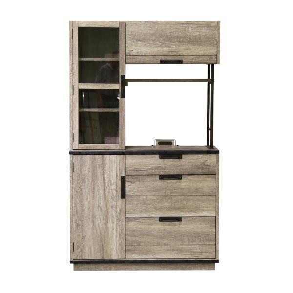 【送料無料】インダストリアルデザイン 木とスチールの組み合わせがかっこいい キッチン収納 幅105