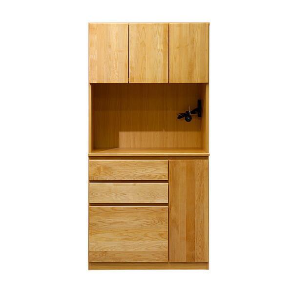 【送料無料】 アルダー無垢材を使用したキッチン壁面収納 レンジ台 幅90cm