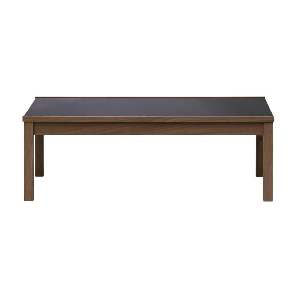 【送料無料】 ブラックの強化ガラス天板のモダンなデザインのリビングテーブル ダークブラウン 幅110