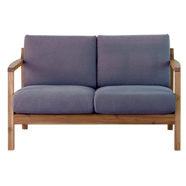 【送料無料】北欧デザインの2人掛けソファ アカシア材とネイビー