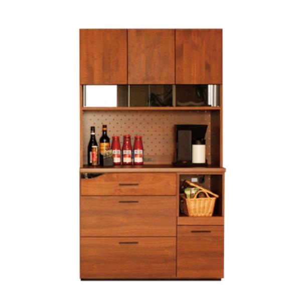 【送料無料】カフェ風キッチンボード アルダー無垢 ブラウンとブラック 幅105
