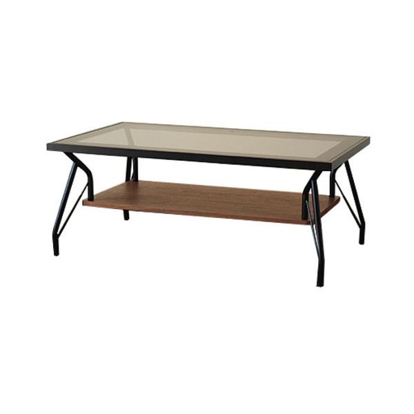 【送料無料】カフェ風リビングテーブル 強化ガラス天板 ブラウン 幅90