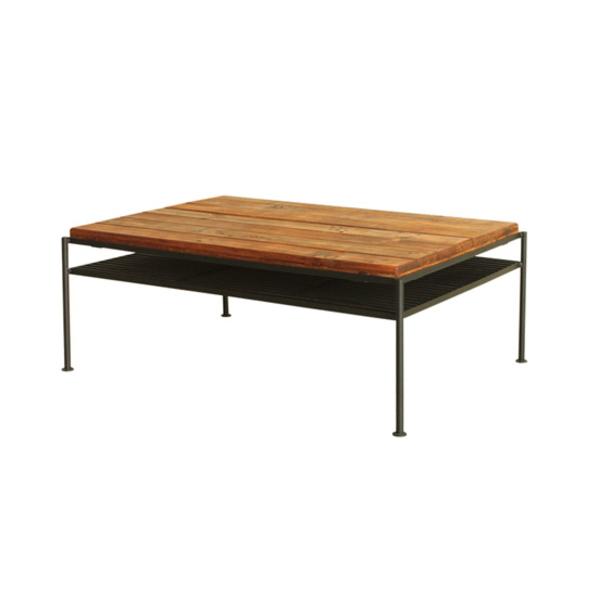 【送料無料】カフェ風センターテーブル スチールと木のヴィンテージなデザイン 幅93