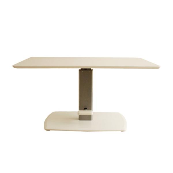 【送料無料】モダンな昇降式ダイニングテーブル ホワイト ペダル式なので楽々  幅120
