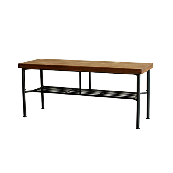 【送料無料】カフェ風ベンチ ブラックスチールと木製座面