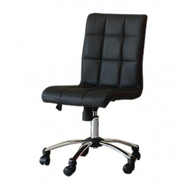 【送料無料】モダンなオフィスチェア キルティングのPU座面 ブラック