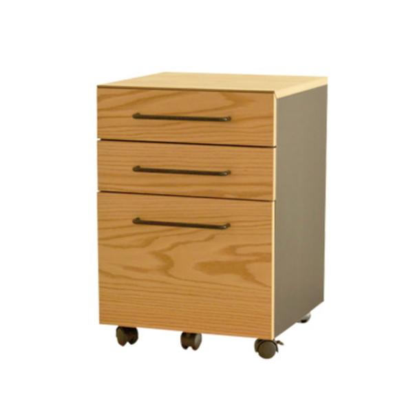 【送料無料】モダンな木製ワゴン キャスター付き オーク材ナチュラル 幅40