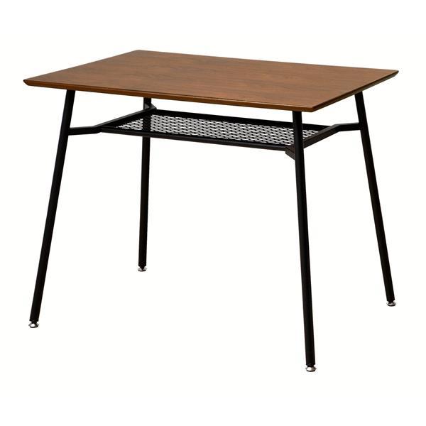 【送料無料】カフェ風の木製ダイニングテーブル レトロなブラックスチールのフレーム 幅90