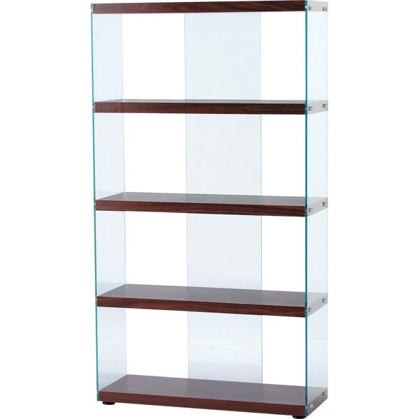 【送料無料】モダンなオープンシェルフ 幅83 強化ガラス ブラウン 店舗やオフィスに