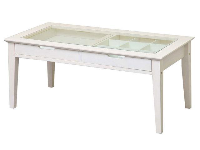 【送料無料】 ホワイトカラーのリビングテーブル カントリー仕上げ 引き出し2個付き