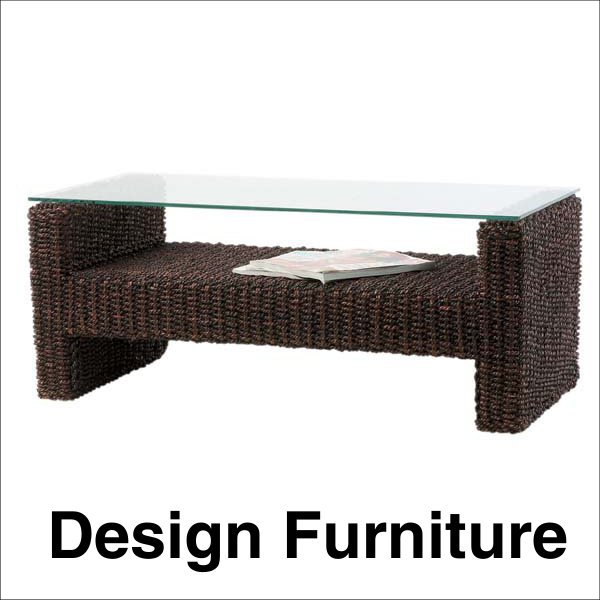アジアン系 ガラステーブル アバカ使用