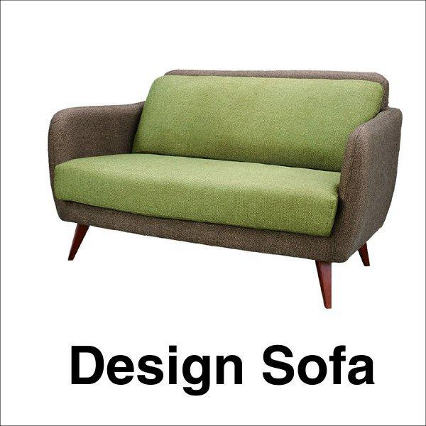 【送料無料】 ポップなデザインの北欧系2人掛けソファ グリーン