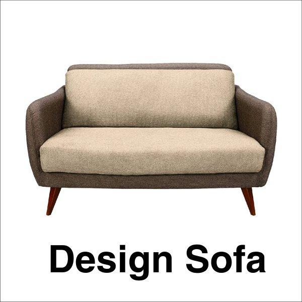 【送料無料】 ポップなデザインの北欧系2人掛けソファ ベージュ