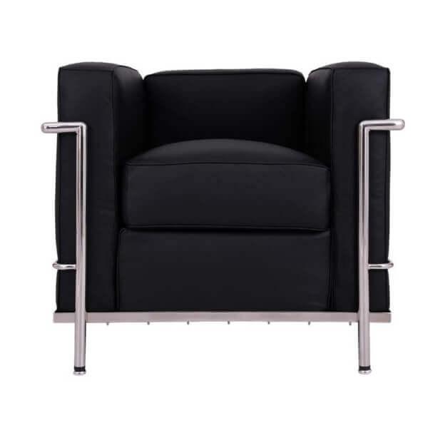 【送料無料】 コルビジェ オフィス用ソファ(Le Corbusier)【LC2】 スタイリッシュなリプロダクトデザイナーズ家具 1人掛け ブラック