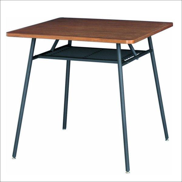 【送料無料】 ウォールナット突板とスチールのレトロデザイン ダイニングテーブル
