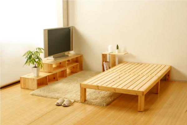 日本製桧すのこベッド シングルサイズ 斜め画像