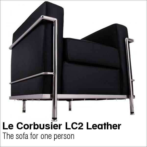 【送料無料】 コルビジェ ソファ 1人掛け (Le Corbusier)【LC2】 リプロダクト デザイナーズ家具 革使用 (dsf)