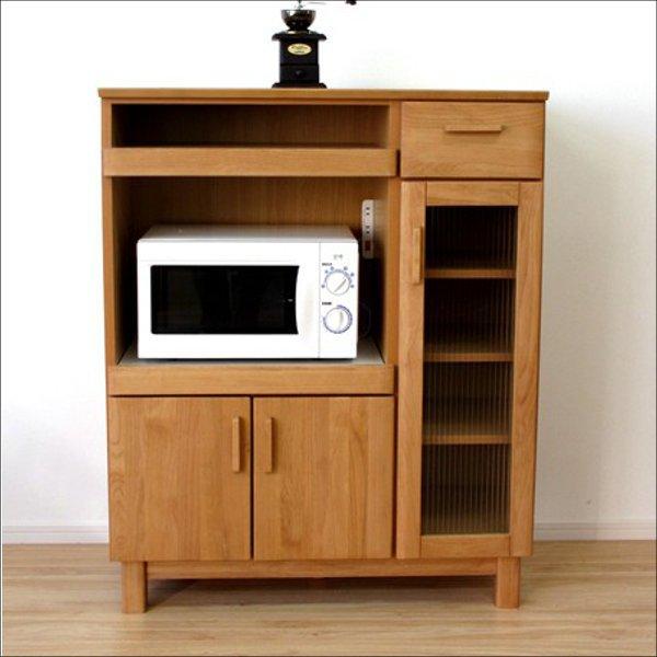 【送料無料】 北欧系 無垢材 2口コンセント付きキッチンキャビネット 幅90cm