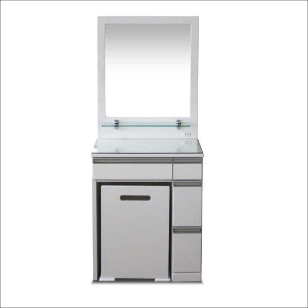 【送料無料】 スタイリッシュなデザイン ガラストップ天板のドレッサー 1枚ミラー ホワイト