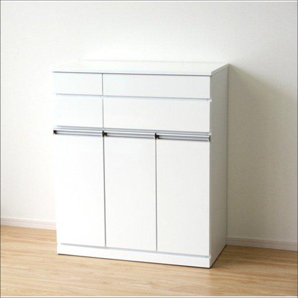 【送料無料】 完成品 スタイリッシュなエナメル鏡面塗装 ダストボックス3分別のごみ箱(ホワイト)