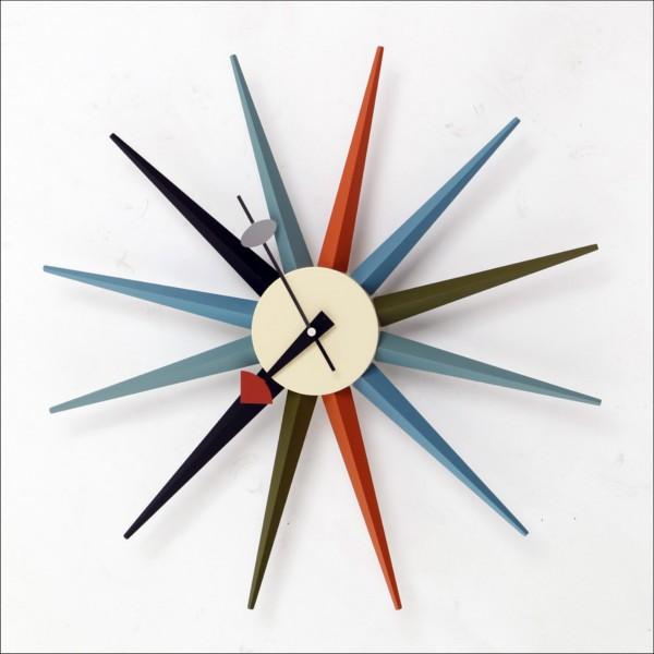 【本州送料無料】 シックでレトロ デザイナーズ掛け時計 サンバースト・クロック 奇抜で新しいジョージ・ネルソンクロック マルチカラー