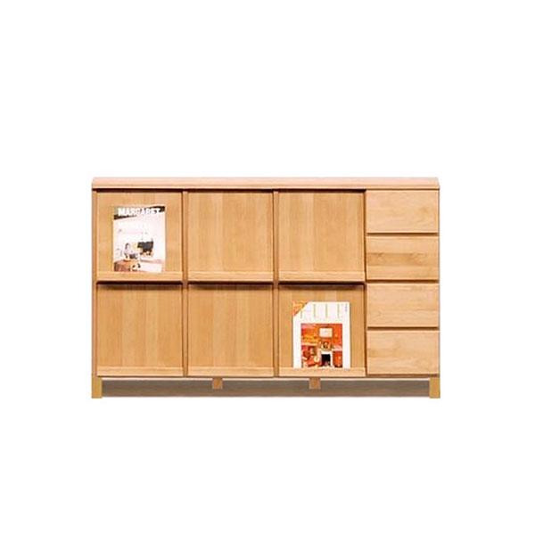【送料無料】 高級家具 北欧デザインの引き出し フラップ扉のマガジンラック 幅143木脚