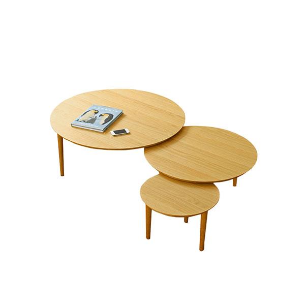 【送料無料】 高級家具 北欧デザインのリビングテーブル 可動式 ホワイトオーク 天板3枚タイプ