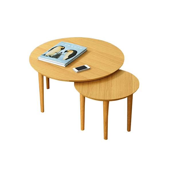 【送料無料】 高級家具 北欧デザインのリビングテーブル 可動式 ホワイトオーク 天板小2枚タイプ
