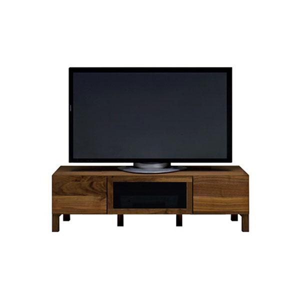 【送料無料】 高級家具 北欧デザインのローボード テレビ台 ウォールナット 黒ガラス 幅120