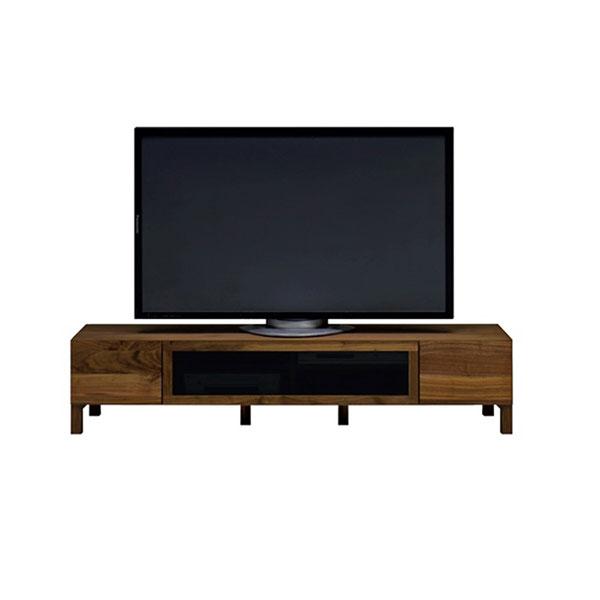【送料無料】 高級家具 北欧デザインのローボード テレビ台 ウォールナット無垢 黒ガラス 幅164
