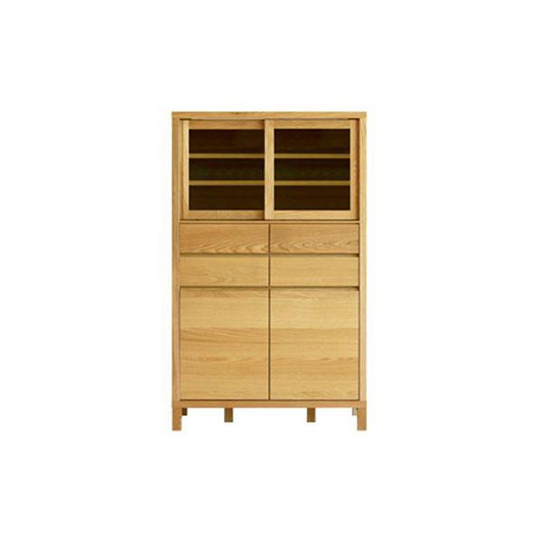 【送料無料】 高級家具 ホワイトオーク無垢材の食器棚 カップボード 幅85 ハイタイプ 日本製