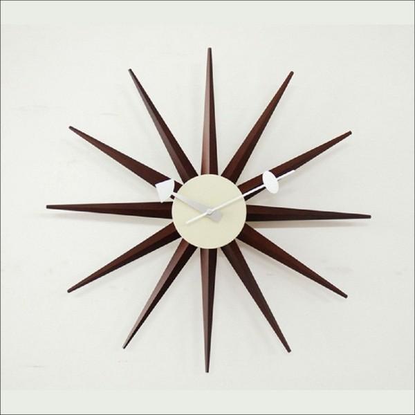 【本州送料無料】 シックでレトロ デザイナーズ掛け時計 サンバースト・クロック 奇抜で新しいジョージ・ネルソンクロック ウォールナット